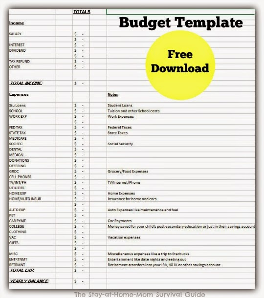 Full year free download budget template available at The Stay-at-Home-Mom Survival Guide.