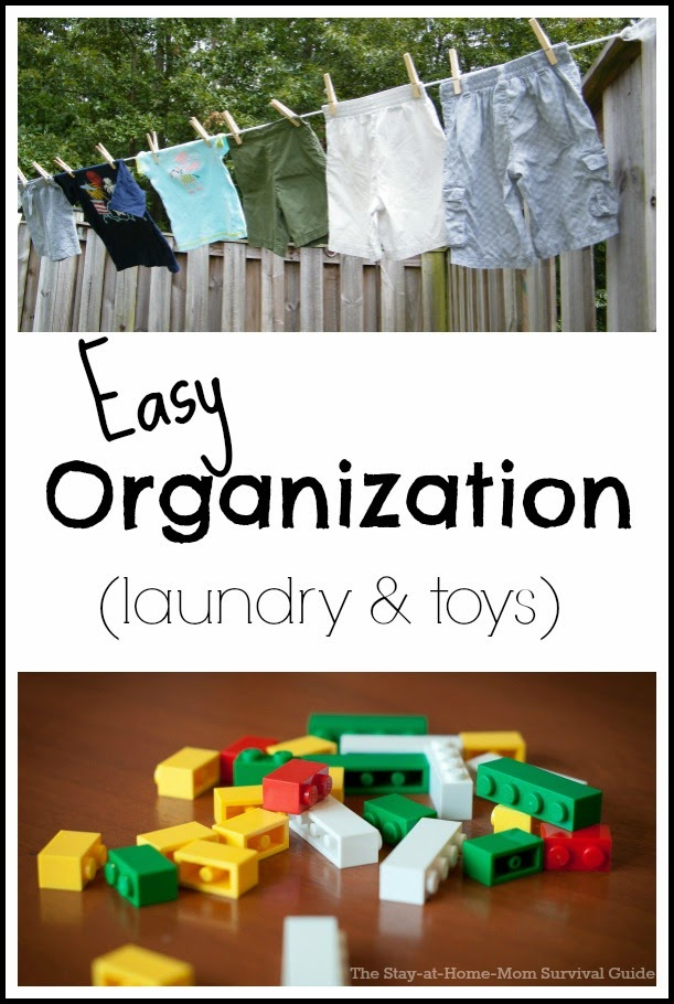 5 easy ways to organize your life at home with kids. Specific tips for laundry and toy organization.