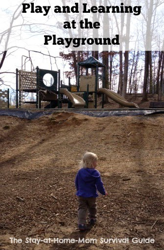 Ways to play and learn outdoors and at home all inspired by the playground. Easy ways to explore the playground beyond the cliimbing structures and get some exercise time for mom too! Shared by Jaimi at The Stay-at-Home-Mom Survival Guide.