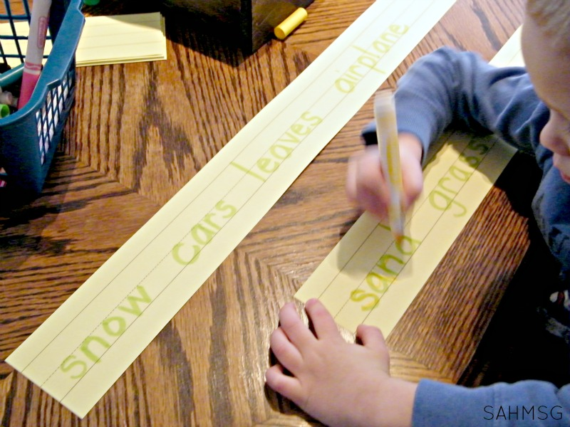 Use a highlighter to create a simple word trace and use the words as part of a word wall at home to encourage strong reading skills beginning with toddlers, preschool and school age kids.