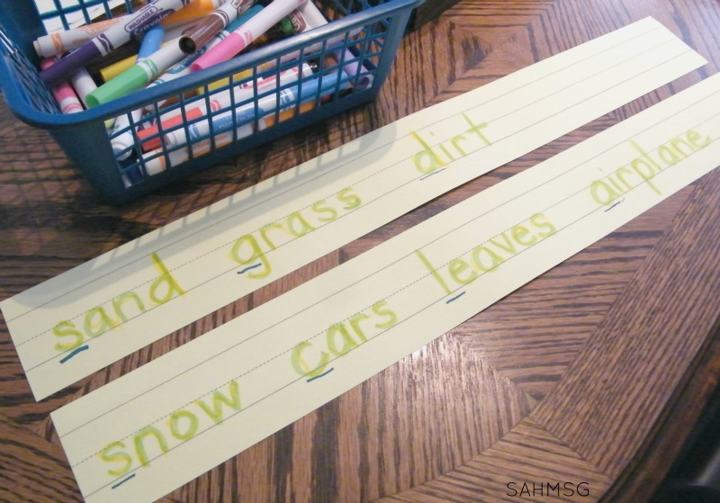 USe events like playing outside as word wall word inspiration plus practice writing the words first with these simple activity ideas for preschool.
