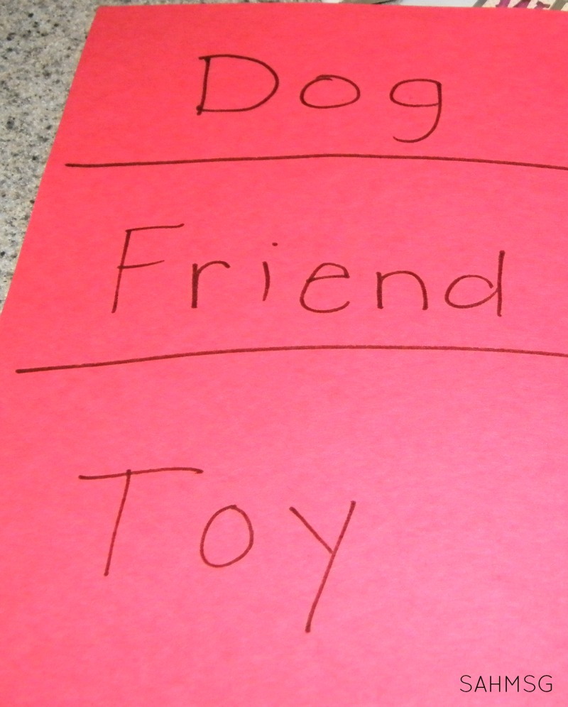 Simple activity ideas for making a word wall at home for toddlers, preschool and school age kids.