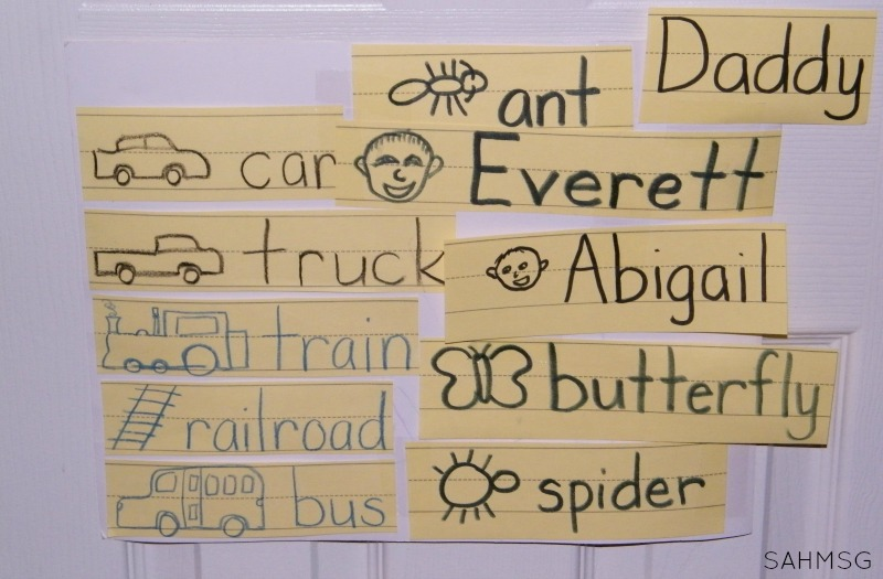A simple way to make a word wall at home. Activities for kids to learn to read and write. Toddlers, preschool and school age kids will be strong readers with these simple activity ideas for learning at home.