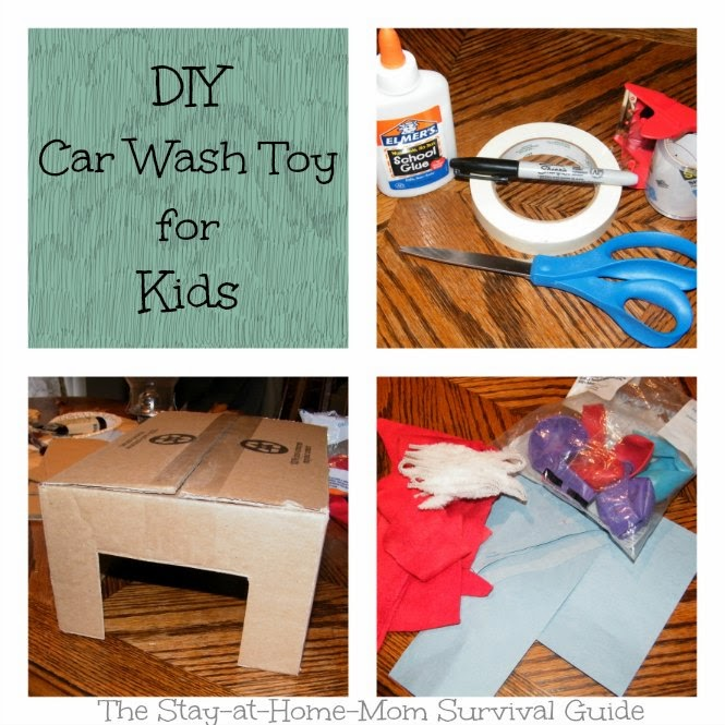 DIY Car Wash Toy for Kids from a Cardboard box and supplies you have at home from The Stay-at-Home-Mom Survival Guide.
