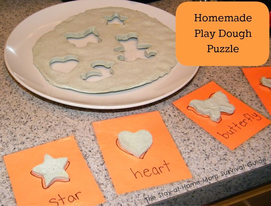 Make a Homemade puzzle out of play dough