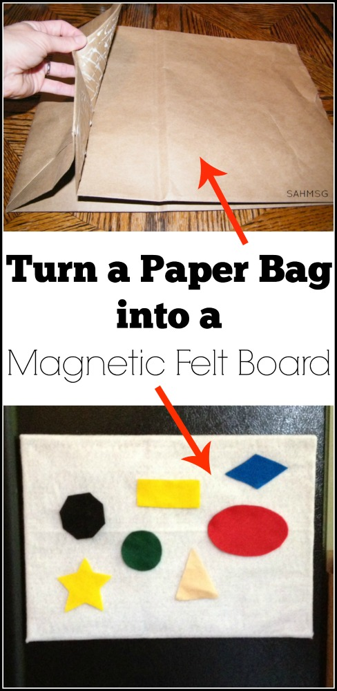 Turn a paper bag into a magnetic felt board for your fridge. This is a perfect activity surface to keep toddlers and preschool kids busy while you make dinner.