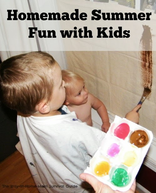 Homemade Summer fun with kids. Simple to create activities for kids that work indoors or out depending on weather. Plus, links to a complete series of free or cheap activities for kids!