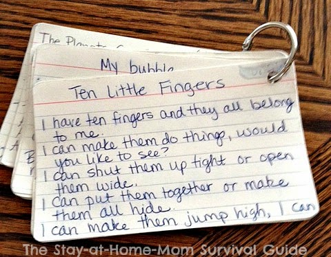 Take along kid songs in the car written on index cards so you can figure out the words in a pinch!