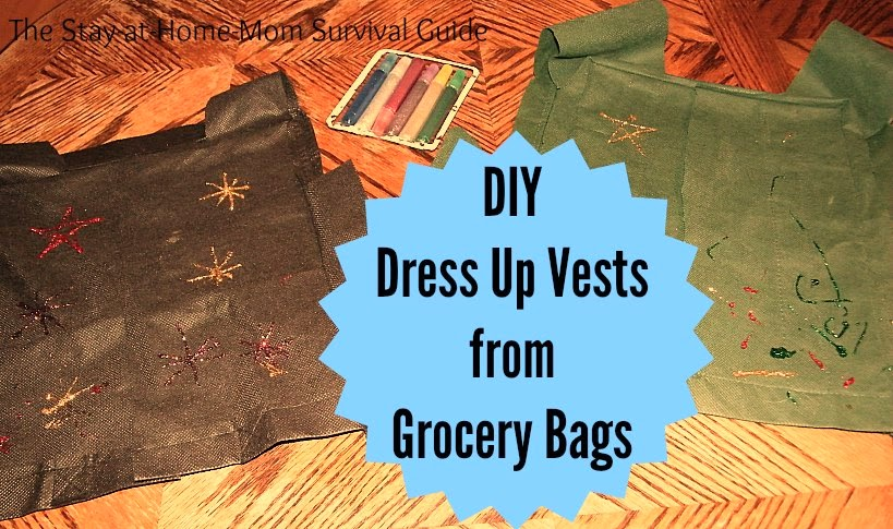Completed DIY vests for kids dress up made from fabric grocery bags at The Stay-at-Home-Mom Survival Guide