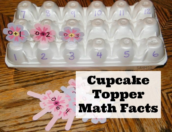 EGG CARTON CUPCAKE TOPPER MATH FACTS CENTER ACTIVITY horizontal