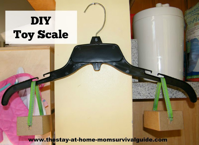 3 steps, and 3 supplies to make this DIY toy scale for play and learning. Great ideas for using it in preschool homeschool activities.