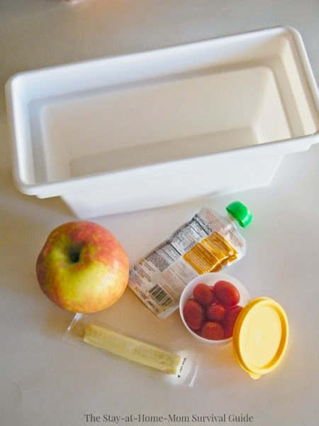 Set up this simple fridge snack box for kids so they can help themselves to snacks that you have stocked for them-easy to get healthy options in their reach and saves mom time.