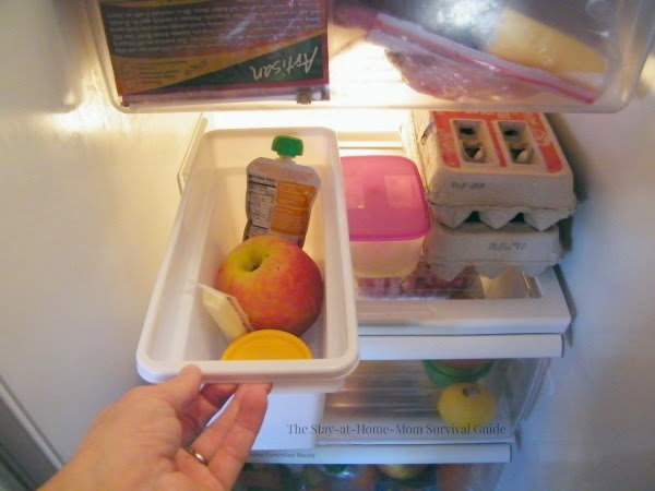 "Set up this simple snack station fridge snack box for kids for Summer vacation. No more hearing, ""Mom, I'm hungry!"" Kids can serve themselves with the foods you have stocked."