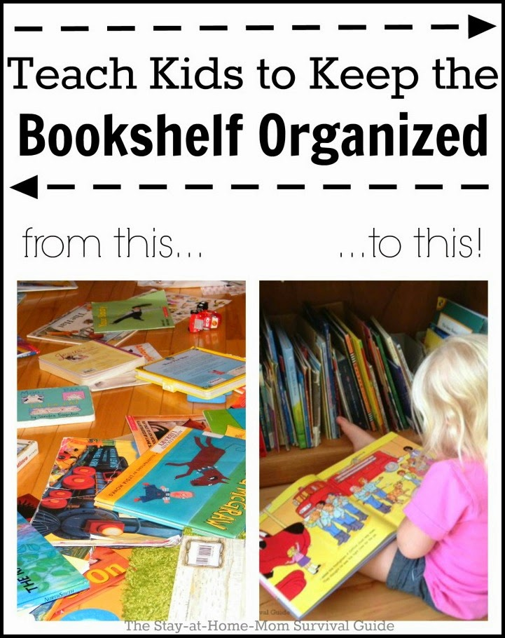 Simple DIY tip to create a neat bookshelf and teach children how to care for books.