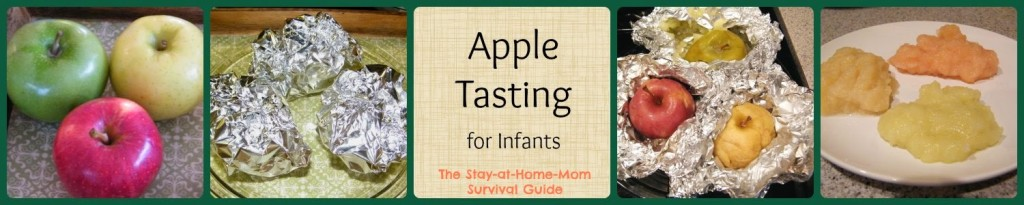 Apple tasting sensory activity for infants from The Stay-at-Home-Mom Survival Guide