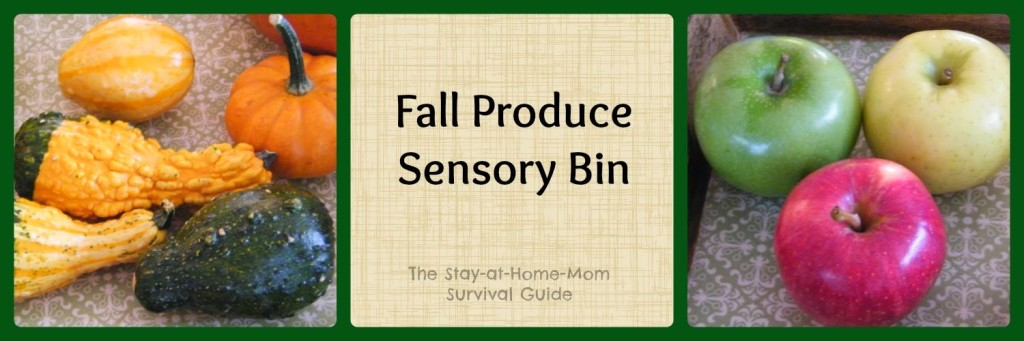 Fall Produce sensory bin for infants