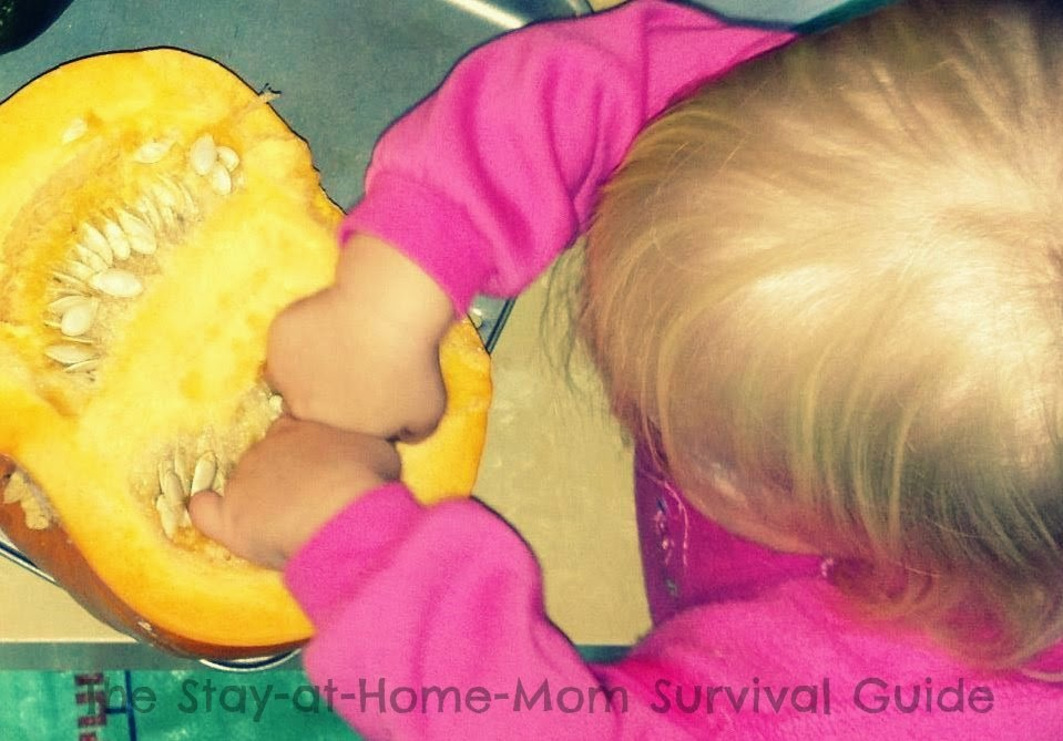 Pumpkin sensory play for infants and toddlers