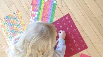 Learning letters and shapes with stickers preschool activity