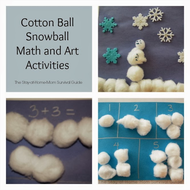 Cotton Ball Snowball Math and Art Activities for Kids