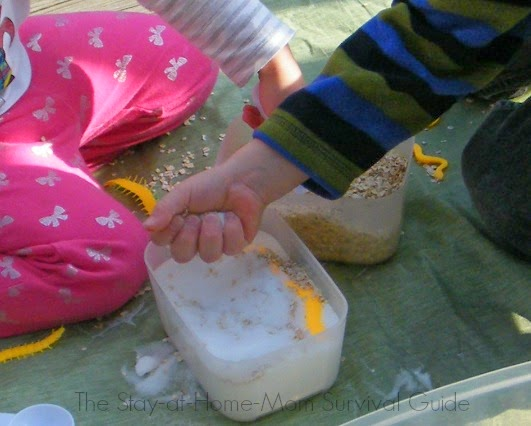 Sensory Bin Fillers for 40 Days! Up first: oats and salt sensory bin filler for toddlers and preschool.