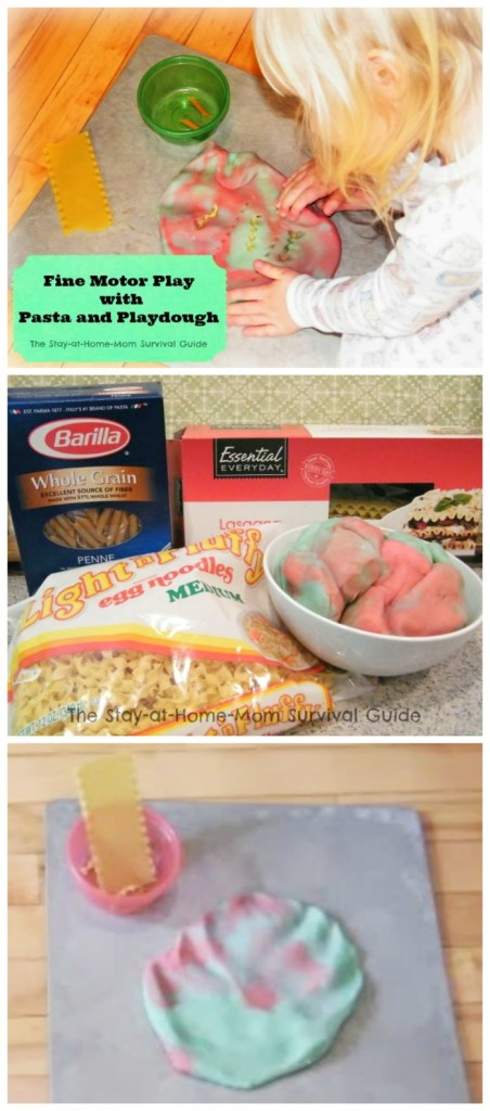 Combine pasta and play dough for a homemade (simple) fine motor and sensory activity for preschool and toddler aged children.