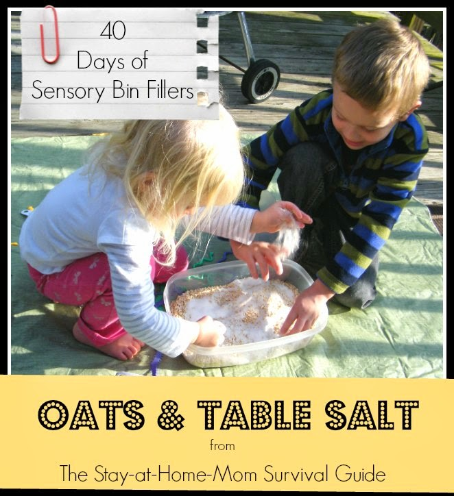 40 Days of Sensory Bin Fillers: Oats and Table Salt