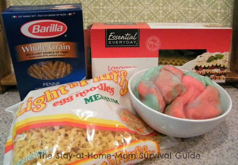 pasta and play dough fine motor sensory play activity