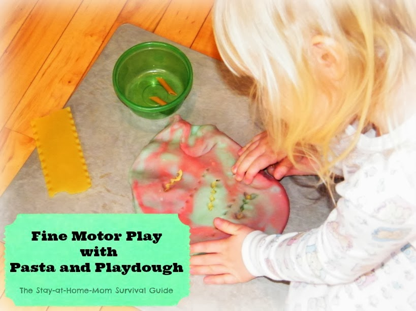 fine motor activity with pasta and play dough