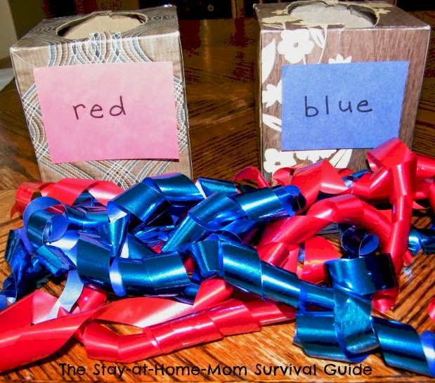 Color confusion is sorted out with red and blue ribbon and kleenex boxes.