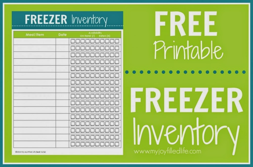 Free Printable Freezer Inventory for Prepping Meals from My Joy-Filled Life shared at The Stay-at-Home-Mom Survival Guide