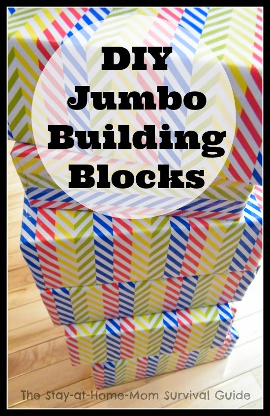 Great idea for upcycling old shoe boxes or large food boxes-make jumbo building blocks for the kids. Idea from The Stay-at-Home-Mom Survival Guide.