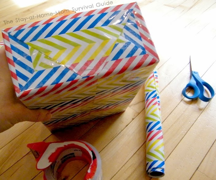 DIY Jumbo Blocks for Kids are as easy to make as wrapping a gift! Idea from The Stay-at-Home-Mom Survival Guide.