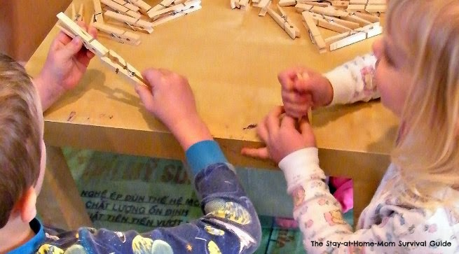 Clothespin activity for preschoolers and school age kids.