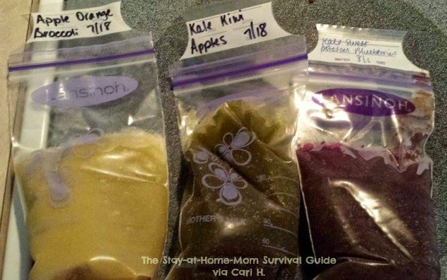 Homemade snack pouches for toddlers and preschoolers shared at The Stay-at-Home-Mom Survival Guide in the Moms Share series.