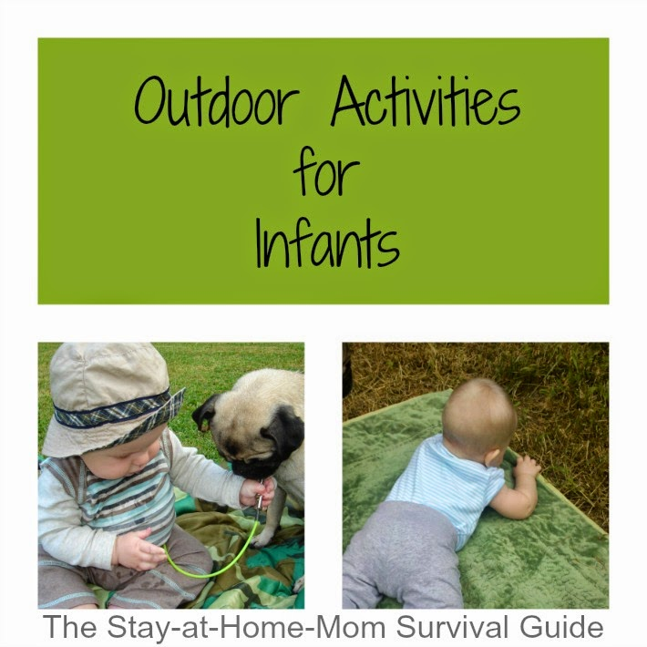 Easy ways to help an infant (2 months old and up) play outside. Anyone can try this and there are a lot of options for engaging infants of all ages shared by The Stay-at-Home-Mom Survival Guide.