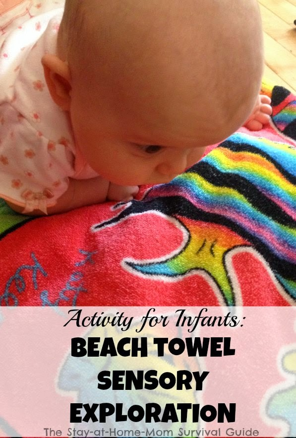 Baby Play-Beach towel sensory activity for infants. One item activity for baby.