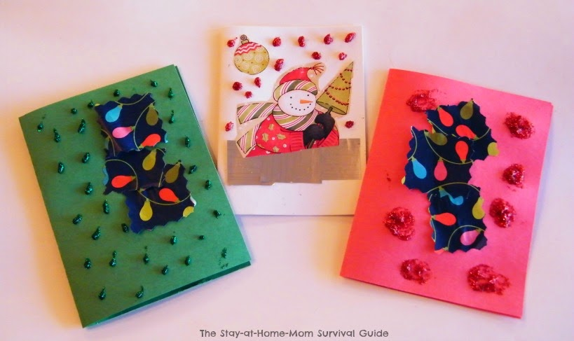 Homemade thank you notes using gift wrap scraps the stay at home handmade thank you notes and greeting cards to say thanks for christmas and holiday gifts made m4hsunfo