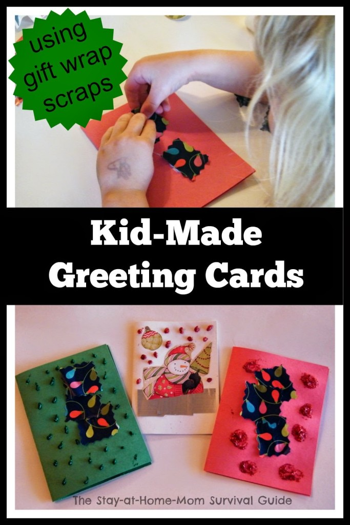 DIY thank you notes and greeting cards for kids to make with recycled wrapping paper scraps. This is a great project for teaching basic skills as well as thankfulness to children at a young age shared at The Stay-at-Home-Mom Survival Guide.