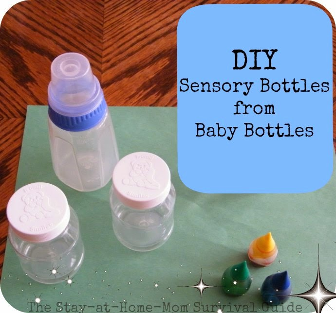 DIY sensory bottles from upcycled baby bottles-reuse, recycle those old baby bottles as your baby grows. Simple combinations to keep baby engaged in play.