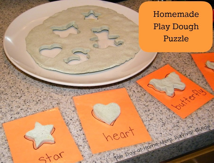 DIY puzzle made from play dough-great activity for toddlers and preschoolers. Easy to create whatever type of puzzle you want based on what you have in your home.