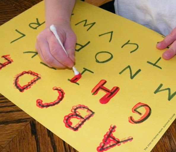 Reluctant learners can get interested in learning to write the alphabet when you incorporate art into their activity. Idea for cotton swab painting at The Stay-at-Home-Mom Survival Guide.