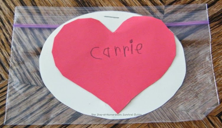 Super simple homemade Valentine's that can be made by kids. Idea shared over on The Stay-at-Home-Mom Survival Guide.