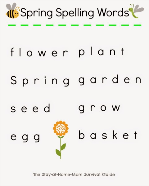Free printable Spring spelling words to use with a hands-on game shared by The Stay-at-Home Mom Survival Guide.