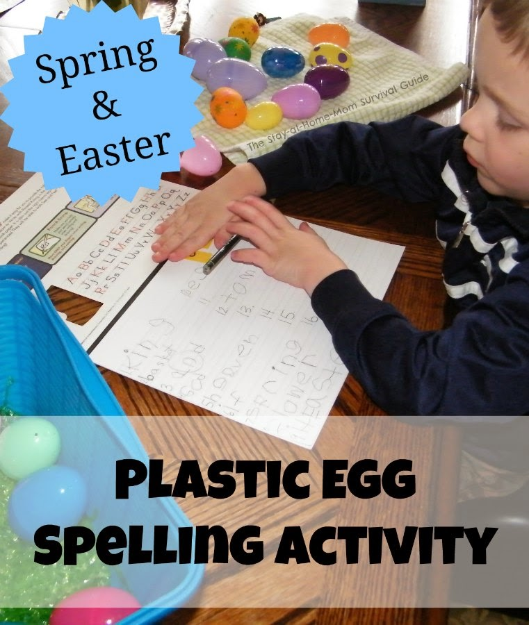 Hands-on spelling game for Spring or Easter with free printable words lists from The Stay-at-Home Mom Survival Guide.