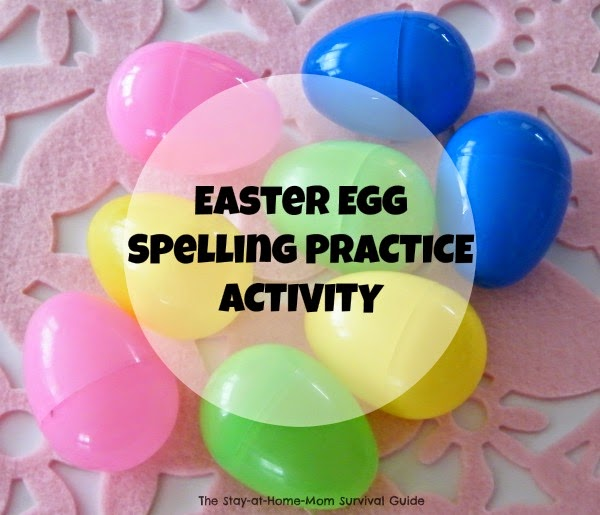 Use plastic Easter eggs for a hands-on spelling activity for building words PLUS FREE printable Spring and Easter word lists at The Stay-at-Home Mom Survival Guide.