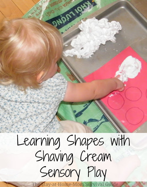 Try these DIY shape mats for learning shapes while playing with shave cream! Great for toddlers and preschoolers.
