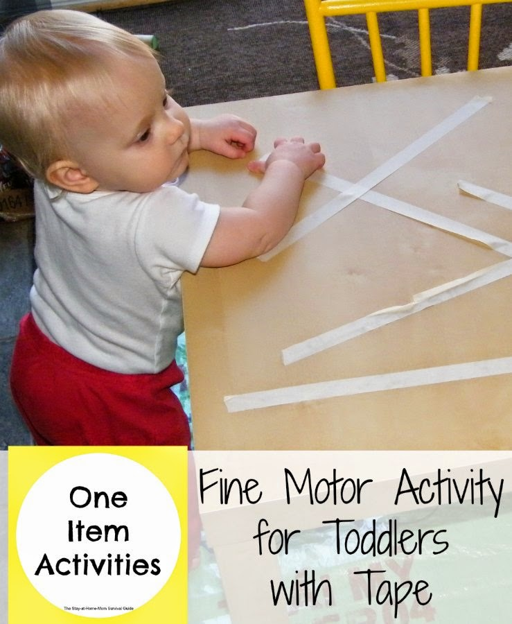 So simple! This activity uses tape as an activity for toddlers to work on fine motor skills...and keep them busy exploring.