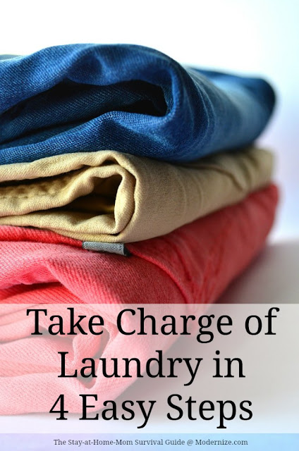 No more laundry burnout! Take charge of laundry in 4 easy steps-tips from a mom of 4.