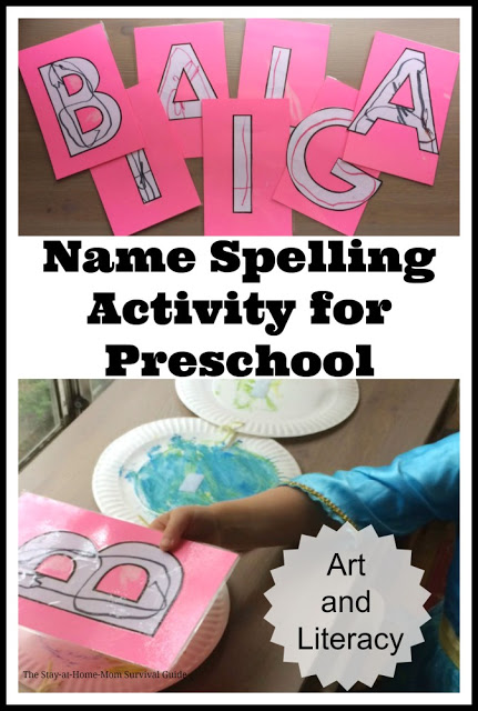 Use paper plates to help teach preschoolers to spell their name. This is a simple art and literacy activity that makes spelling their name fun for preschool aged kids.
