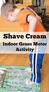 Shaving Cream Indoor Sensory and Gross Motor Activity